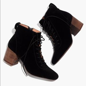 Madewell Emilia Lace Up Boots Black Suede NEW